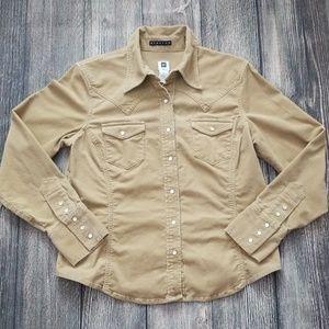 Gap Stretch Beige Corduroy Shirt L